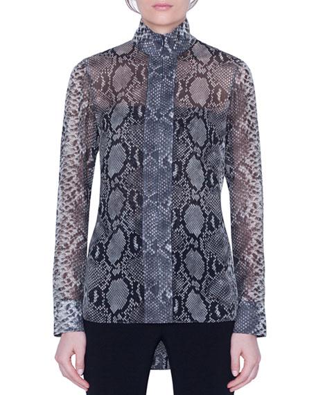 Akris Python-Print Silk Funnel-Neck Tunic