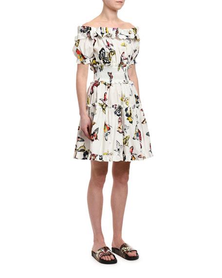 Dolce & Gabbana Off-the-Shoulder Butterfly-Print Poplin Dress