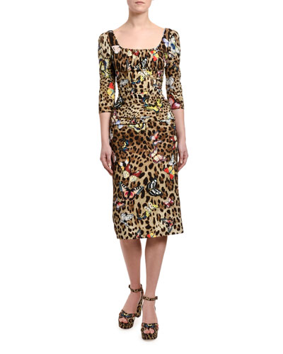 3/4-Sleeve Leopard-Print Charmeuse Midi Dress