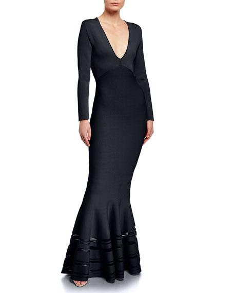 Zac Posen Long Sleeve V-Neck Mermaid Gown