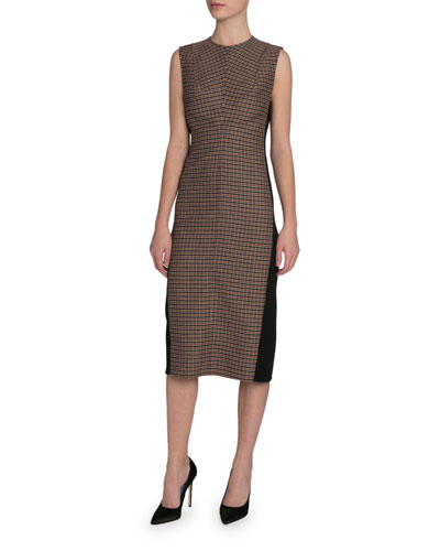 Checked Twill Midi Dress