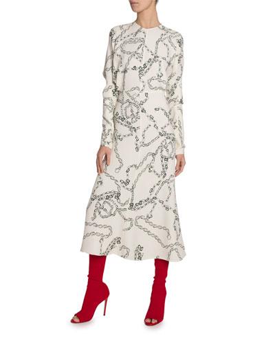 Chain Print Jersey Dress