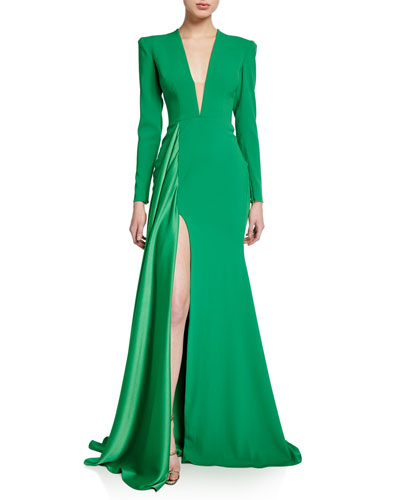 Lindy V-Neck Long-Sleeve Gown