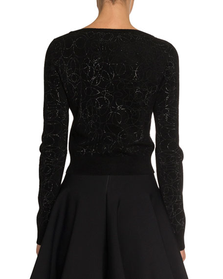 ALAIA Boat-Neck Cropped Velour Pullover