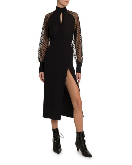 Balmain Swiss-Dotted Crepe Midi Dress