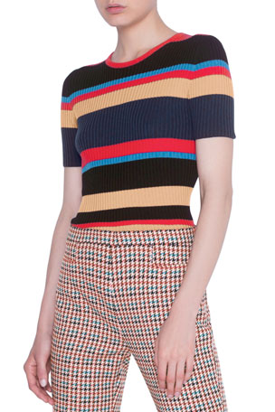 Akris punto Striped Short-Sleeve Rib Sweater