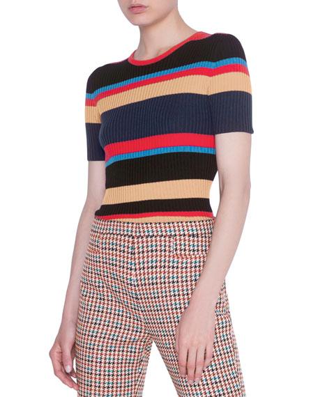 Akris punto Striped Short-Sleeve Rib Sweater