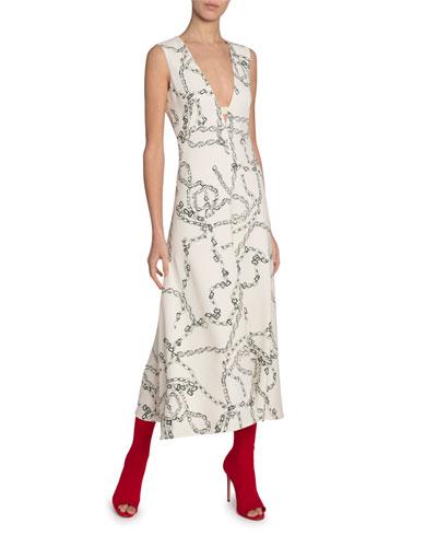 Chain Print Jersey Sleeveless V-Neck Dress