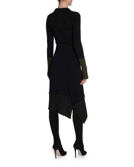 Victoria Beckham Long-Sleeve Chunky-Knit Trim Dress