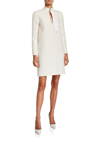 Rosetta Getty Long-Sleeve Wool Belted-Neck Shift Dress $463.00
