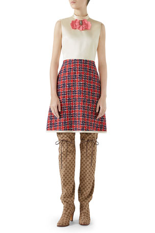 Gucci Sleeveless A-Line Dress w/ Tweed Skirt & Satin Bodice