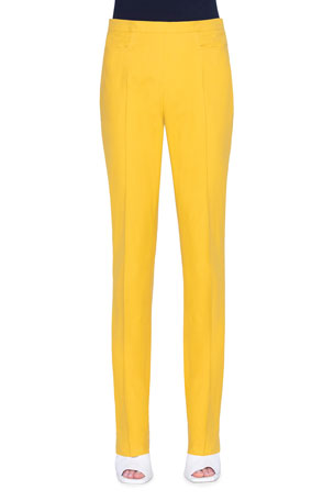Akris punto Francoise Slim-Straight Pants, Yellow