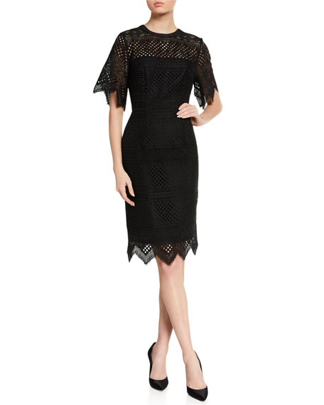 Carolina Herrera Lace Short-Sleeve Sheath Dress