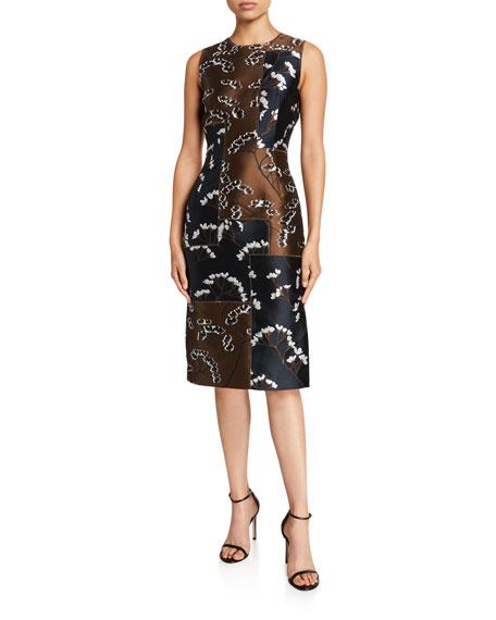 Oscar de la Renta Floral Patchwork Sleeveless Sheath Dress