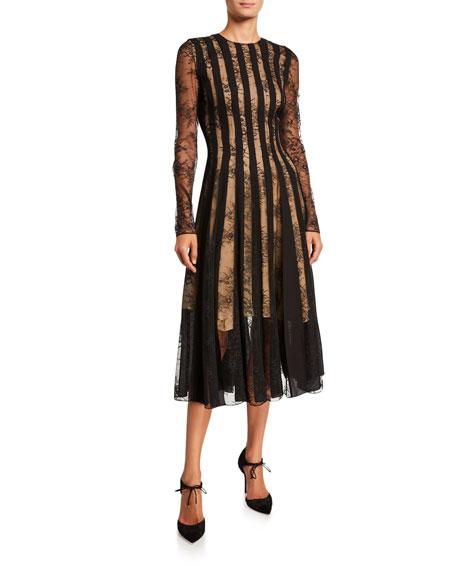 Oscar de la Renta Striped Lace Long-Sleeve Midi Cocktail Dress