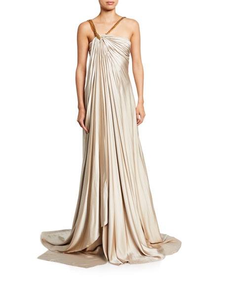 Oscar de la Renta Gathered Asymmetric Chain Strap Satin Gown