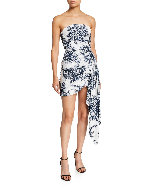 floral-strapless-gathered-mini-dress by oscar-de-la-renta