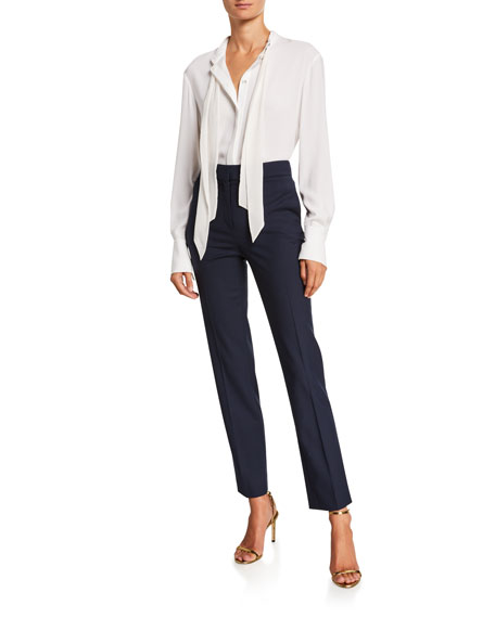 Image 4 of 5: Oscar de la Renta Stretch-Wool Straight-Leg Suit Pants