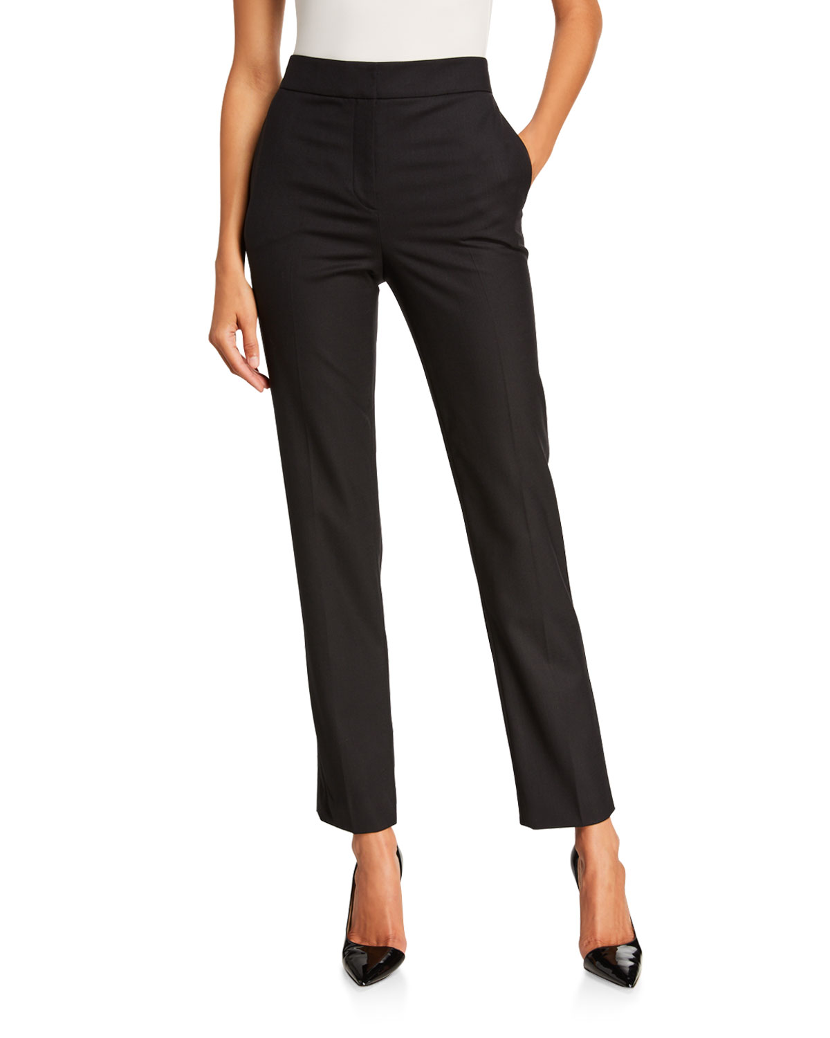 Oscar de la Renta Stretch-Wool Straight-Leg Suit Pants