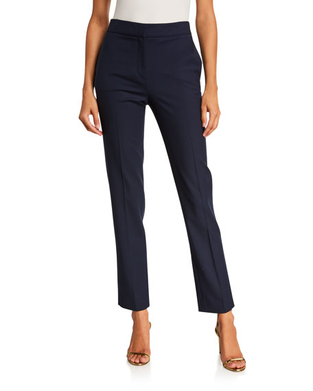 Image 5 of 5: Oscar de la Renta Stretch-Wool Straight-Leg Suit Pants