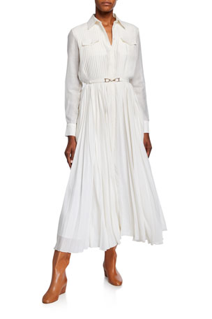 Gabriela Hearst Erella Pleated Shirtdress