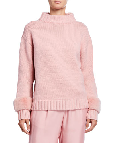 Fur-Trim Wool-Cashmere Mock-Neck Sweater