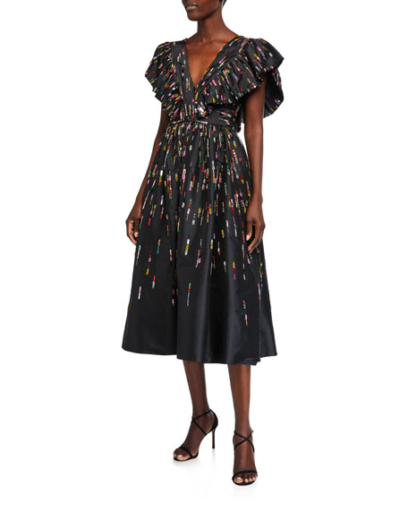 Image 1 of 2: Monique Lhuillier Fluttered V-Neck Midi Dress