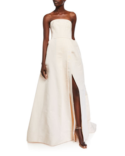 Strapless Silk A-Line Gown with Side Slit