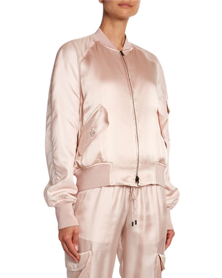 TOM FORD Satin Bomber with Removable Scarf