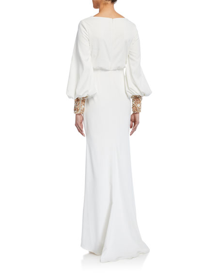 Image 2 of 2: Badgley Mischka Couture Beaded-Cuff Long-Sleeve Gown