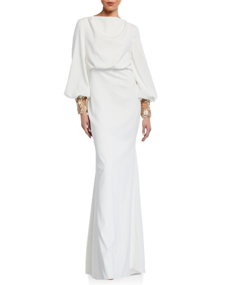 Image 1 of 2: Badgley Mischka Couture Beaded-Cuff Long-Sleeve Gown