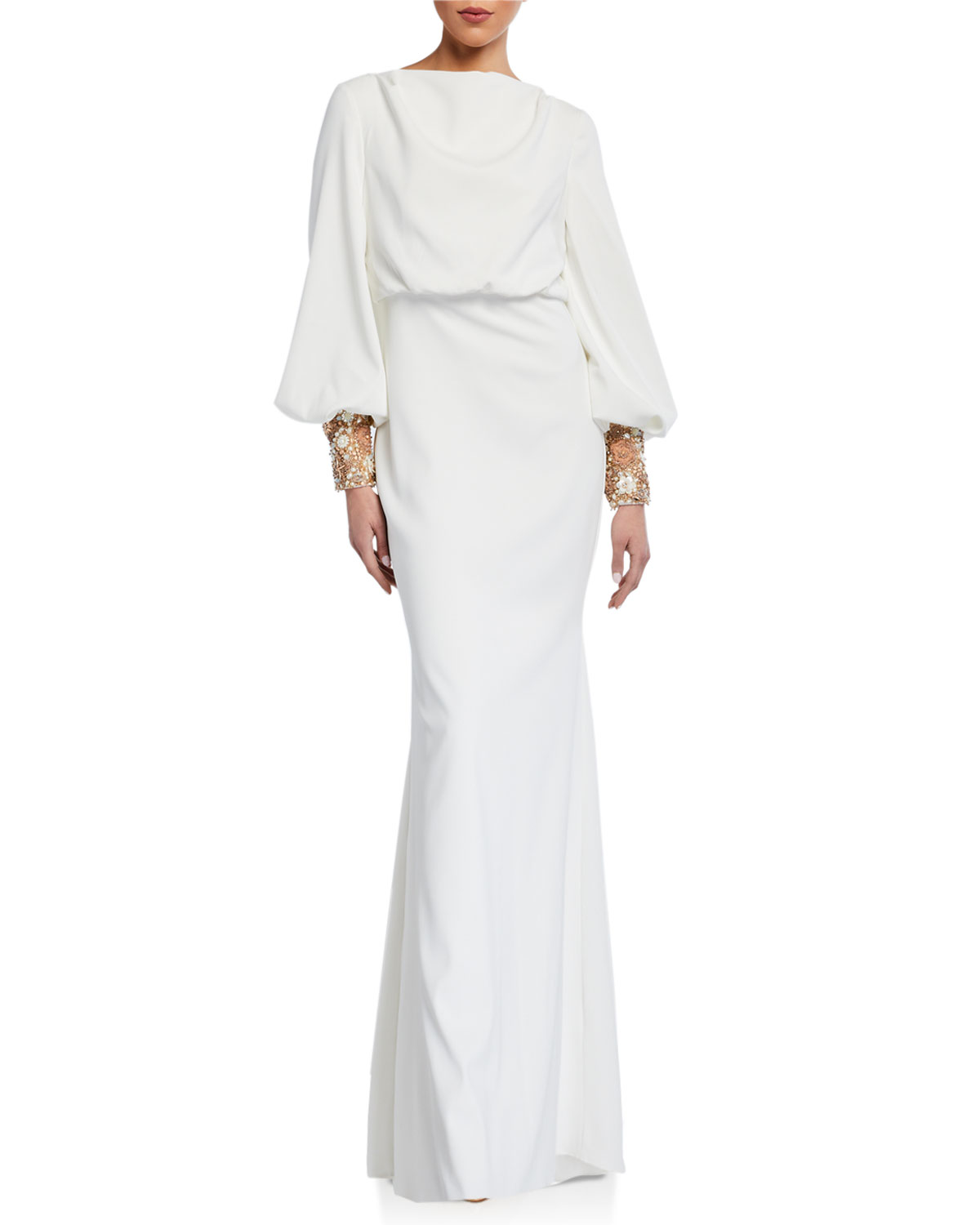 Badgley Mischka Couture Beaded-Cuff Long-Sleeve Gown