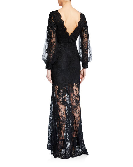Badgley Mischka Couture Scalloped Lace Sheer-Hem Gown