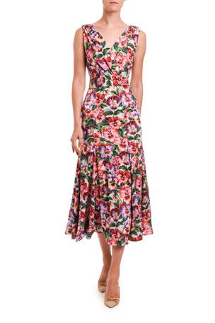 Dolce & Gabbana Multi-Pansy-Print Midi Skirt