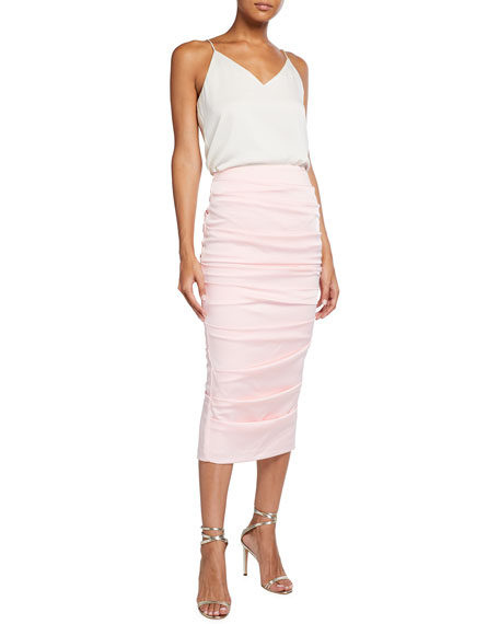 Image 3 of 3: Alex Perry Regan Satin Crepe Ruched Pencil Skirt