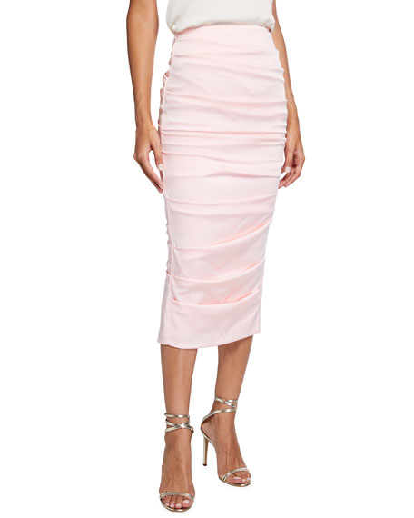 Image 1 of 3: Alex Perry Regan Satin Crepe Ruched Pencil Skirt