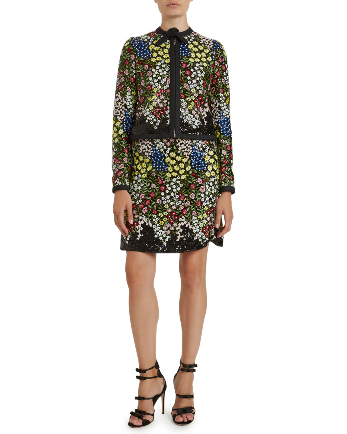Giambattista Valli Floral Embroidered Sequined Jacket