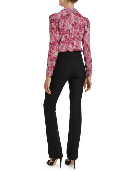 Image 2 of 2: Ruffled-Front Placket Floral Print Blouse