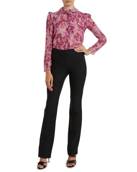 Image 1 of 2: Ruffled-Front Placket Floral Print Blouse