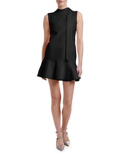 Crepe Cocktail Flounce-Hem Mini Dress