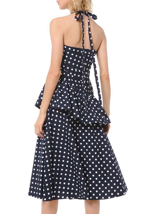 Michael Kors Collection Silk Dot Ruched Peplum Halter Dress