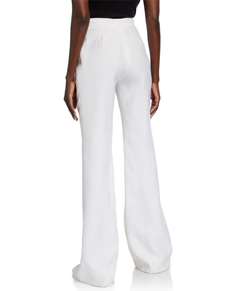 Gabriela Hearst Boot-Cut Pants with Fishnet