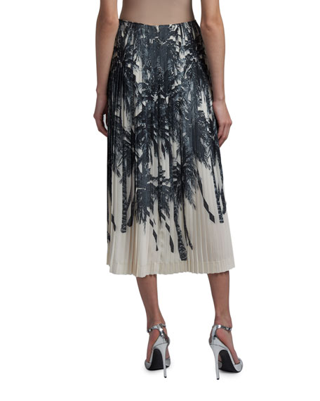 Ermanno Scervino Palm Tree Print Pleated-Silk Skirt