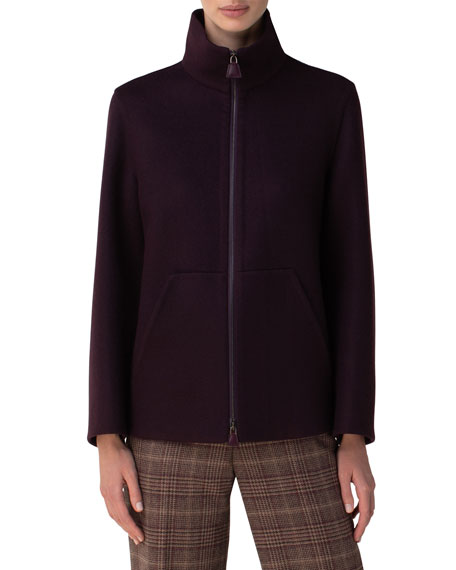 Image 3 of 3: Akris Kandis Stand Collar Cashmere Jacket