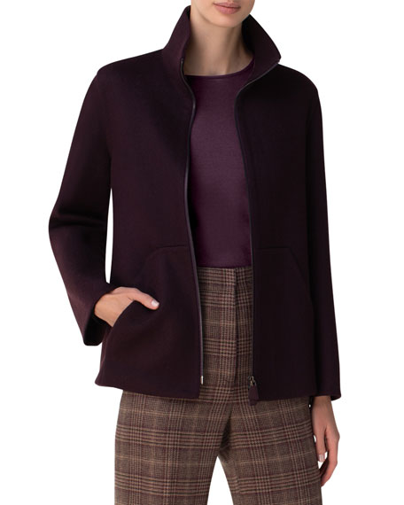 Image 1 of 3: Akris Kandis Stand Collar Cashmere Jacket