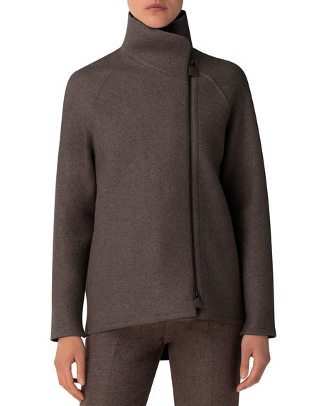 Image 3 of 3: Akris Ray Cashmere Jersey Industrial-Zip Jacket