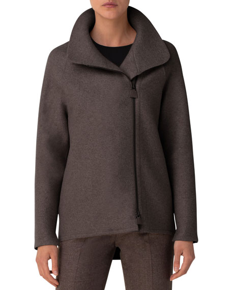 Image 1 of 3: Akris Ray Cashmere Jersey Industrial-Zip Jacket