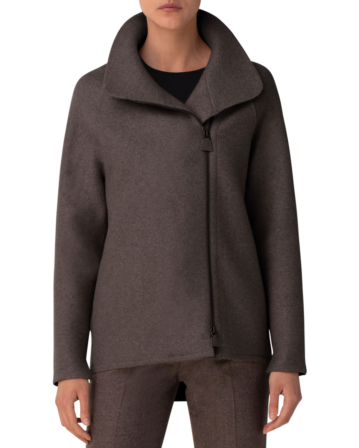 Akris Ray Cashmere Jersey Industrial-Zip Jacket