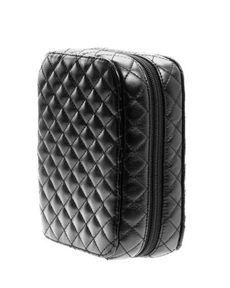Classic Black Quilted Makeup Planner, Petite