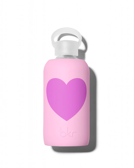 Glass Water Bottle, Rose Heart, 500 mL